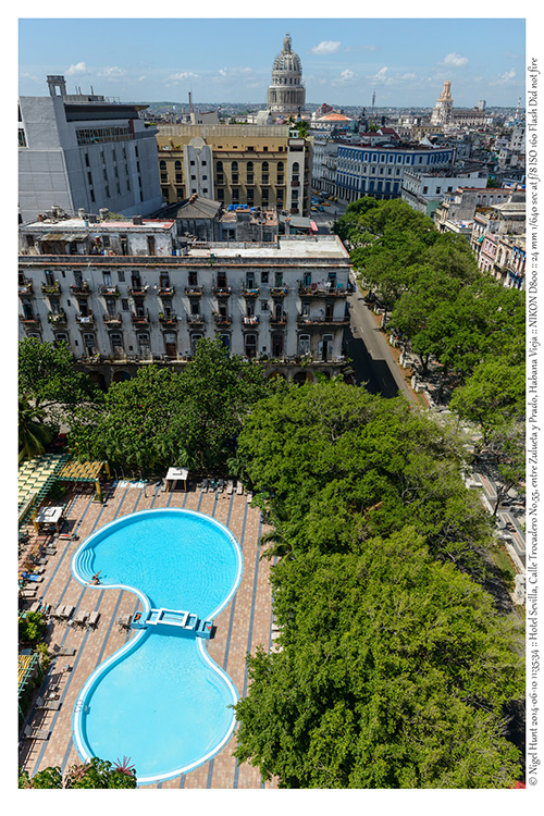 Hotel Sevilla<br /> (Havana) Swimmng pool - aerial view