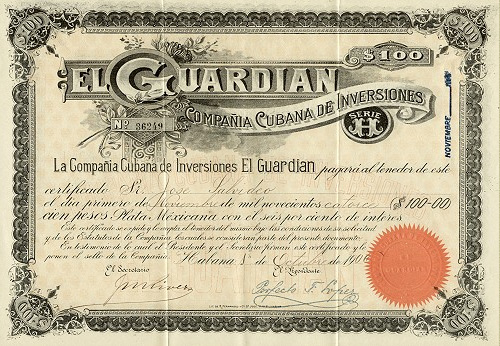 Check of the Old Investments Cuban Company El Guardian