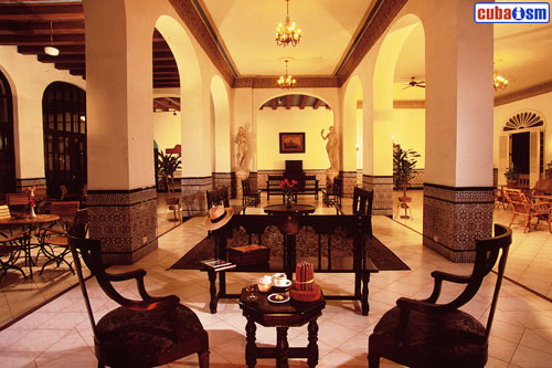 The lobby of Hotel Sevilla in Old Havana, Cuba